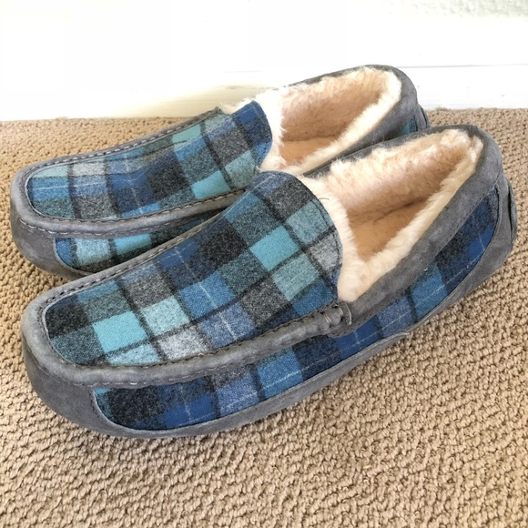 18bcee76335 UGG Men's Ascot Surf Plaid Wool Blend Slippers